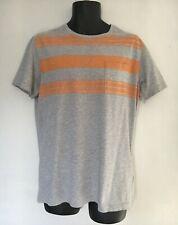 Timberland Organic Cotton T-Shirt, Grey/Orange Stripe, Medium Slim Fit, VGC