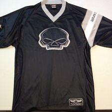 Harley Davidson Cent Texas Austin Black Skull Jersey Style SS Shirt Men's L
