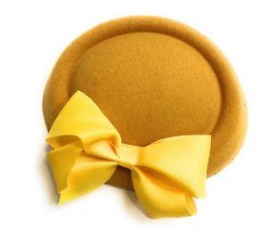 Big Bow Pillbox Wedding Hat Ladies Headpiece Felt Hatinator Fascinator Clips