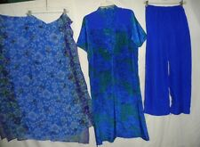 Blue Green Floral Printed 3Pc Salwar Kameez Set Outfit Women Size L