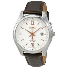 Seiko Kinetic White Dial Brown Leather Band Mens Watch SKA773