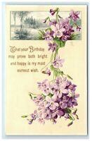 Postcard That Your Birthday May Prove Both Bright & Happy... greeting purple C53