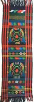 Vintage Ikat Textile Hand Loomed - Quetzal Runner Shawl - Colorful Birds 72 x 19