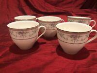 Set Of 5 Mikasa Bone China Spring Crest Coffee/Tea Cups