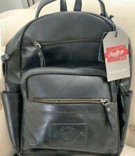 Rawlings Genuine Leather Medium Backpack Black RS10057-BLK NWT