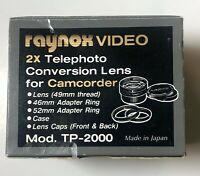 RAYNOX Camcorder Telephoto Lens Model TP-2000 49mm for Camcorder New In Box