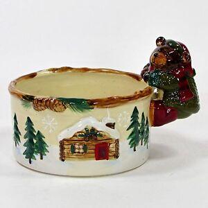 "St. Nicholas Square HEARTLAND 5"" Candy Dish Dip Bowl Bear Evergreen Tree Cabin"