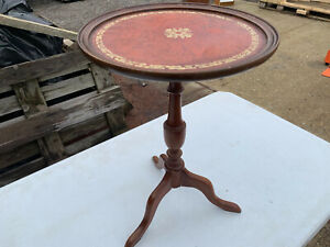 Vintage Red leather top wine table (repair to base) lot CE190221G
