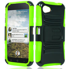 HTC First HYBRID KICK STAND Rubber Silicone Case Phone Cover Black Green