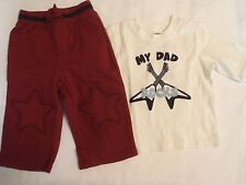 GYMBOREE Baby Boys 6-12 Month Jr Rock Star My Dad Rocks Shirt Pant Outfit NWT