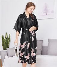 New Luxurious Black Cranes Chinese Japanese Dressing Gown Bath Robe ladpj174