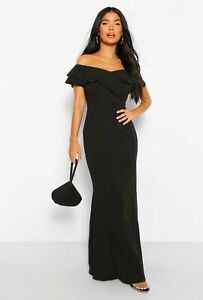boohoo petite fishtail dress UK 8 women's black off shoulder ladies mermaid