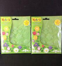 Floral Flower Push Mold Lot 2 3D Embellishment Polymer Clay Fondant Art Craft