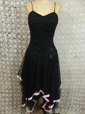 Vintage KIKI USA Prom Dress/Party Dress Black Netting Applique 1950s Inspired S