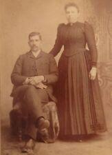 Antique Sepia Photo Man & Woman, Couple, Cabinet Card, Fleming, Somerset, PA