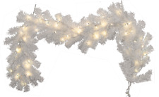 Pre-Lit White Christmas Garland 6FT Length 12IN Width LED Steady Lights Warm