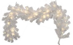 Pre-Lit White Christmas Garland 6FT Length 12IN Width LED Twinkle  Warm White