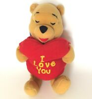 """Disney Winnie the Pooh POOH BEAR Hugging Heart Plush Soft Toy 8"""" with Tag"""