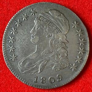 US 1809 Capped Bust Silver ½ Dollar Half Dollar 50C Lettered Edge XF Coin! 82