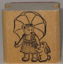 Rubber Stamp - Teddy Bear and Bunny Rabbit with Parasol