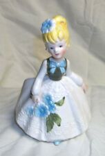 Vtg Lefton Porcelain Girl/Lady Figure Planter/Mr 6639/Blonde Hair/Blue Flowers