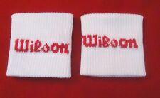 2 Retro Wilson White Tennis Sweatbands Squash Sports Gym Sweat Wrist Bands