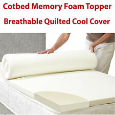 New Memory Foam Cot Bed Mattress Topper Orthopaedic Breathable Cool Cover Cotbed