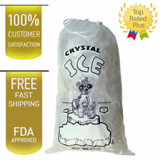100 COMMERCIAL CRYSTAL 10 LB LBS 1.5 MIL Plastic Ice Bag Bags With Drawstring