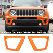 2pc Turn Signal Light Lamp Cover Trim Decor Frame For Jeep Renegade 2019+ Orange