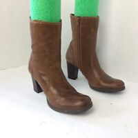GIANNI BINI Brown Leather Zip High Heel High Ankle Fashion Boots Size 8.5 M