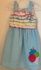 Emily Rose Seersucker Dress 3T Gingham Checked Ice Cream Blue White Ruffle