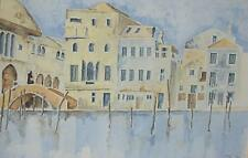 A Venice Canal Charming Watercolour Indistinctly Signed c2000 English School