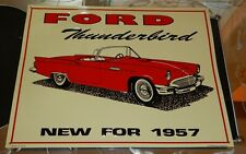 """USA Made 1957 Red """"Ford Thunderbird New For 1957"""" Metal Sign 13"""" x 10"""""""