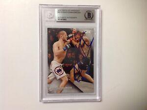 Khabib Nurmagomedov Signed 2015 UFC Topps Card #49 Slabbed Beckett BAS BGS d