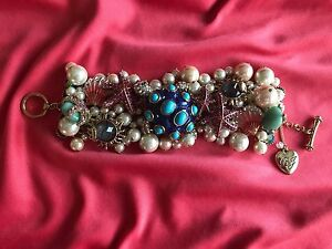 Betsey Johnson And The Sea Reef Pearl Turtle Abalone Shell Starfish Bracelet