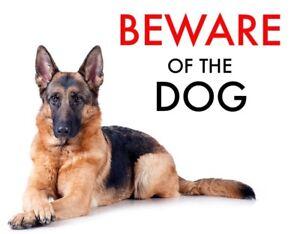 BEWARE OF THE DOG - GERMAN SHEPHERD   WARNING - LAMINATED SIGN FUN