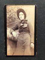 Victorian Carte De Visite CDV: Named HALL: Bonnet Portrait 2 Of 2