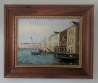 Beautiful Original Oil Painting of Venice Canal on Canvas Signed by Morgan
