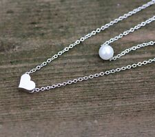 Layering Necklace with Floating Pearl and Heart Sterling Silver 925 from Canada