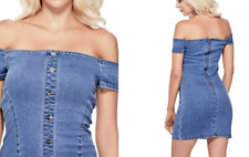 Sexy Guess Topanga Off-The - Shoulder Denim Dress Jeans, XL New NWT