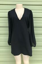 NWD ZARA BLACK CONTRASTING MINI DRESS V NECK PUFF LONG SLEEVES A-LINE Size L 611