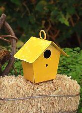 Miniature Dollhouse FAIRY GARDEN Accessories ~ Mini Metal Yellow Birdhouse ~ NEW