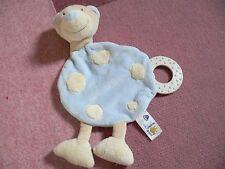doudou BABYSUN baby sun ours plat rond beige et bleu anneau de dentition pois