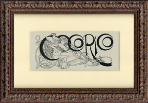"""1898 """"Index Artwork""""  by Alphonse Mucha  Original Line Engraving for Cocorico"""