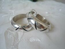 Sterling Silver TAXCO Carved Hoop Dangle Earrings SUPER ChunKY BIG Size