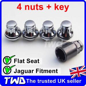 4x ALLOY WHEEL LOCKING NUTS - JAGUAR XF XF-R XE (M12X1.5) CHROME LUG BOLT [0Lb]