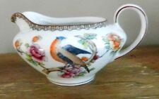 Creamer Victoria (Czech-Slovakia) VIT214: Bird & Flowers-Brown Rim-Antique