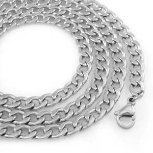18K Premium White Gold Plating Stainless Steel Cuban Link Chain Mens Necklace