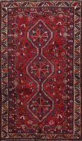 Vintage Tribal Hand-knotted Abadeh Geometric Area Rug Wool Kitchen Carpet 4x6 ft