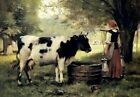 Julien Dupre A Milkmaid with her Cow Fine Art Print on Canvas Repro Small 8x10